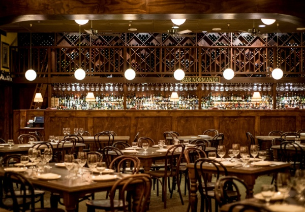 Dining and bar area at Restaurant Hubert in Sydney