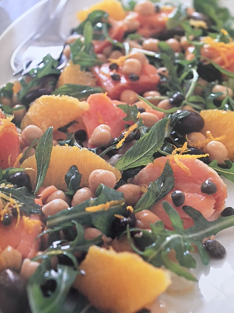 Salmon orange and chickpea salad