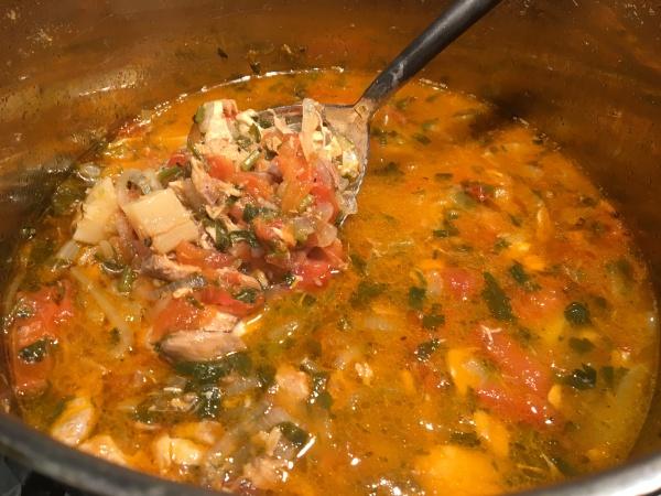 Pot of Greek Fisherman's Soup
