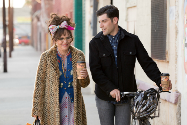 Sally Field and Max Greenfield walking together