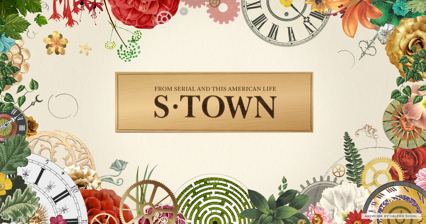 From Serial and This American Life S-Town Podcast with images of clocks and flowers