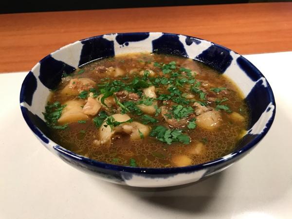 Chestnut Porcini Mushroom & Potato Soup in a bowl