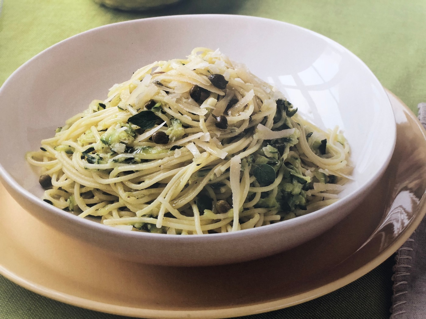 A bowl of Zucchini and Caper Spaghettini