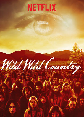 Netflix. Wild Wild Country. Image of an eye and commune members.