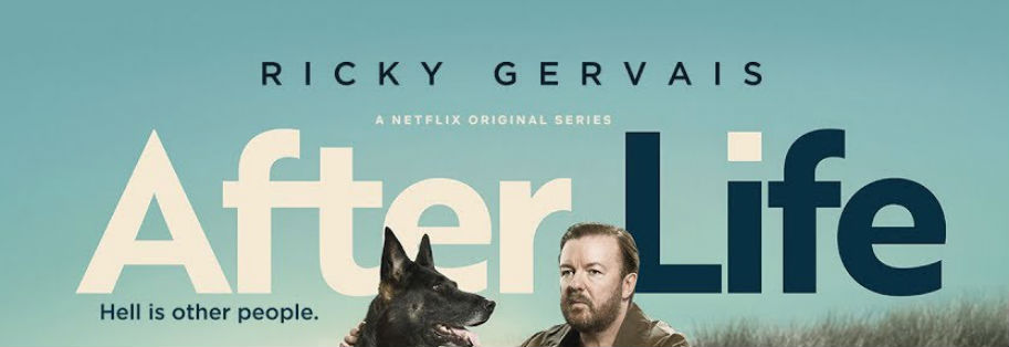 Ricky Gervais in After Life. A Netflix Original Series. Image of Ricky Gervais and a dog.